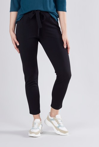 Plain Mid Waist Pants with Elasticised Waistband and Tie Ups