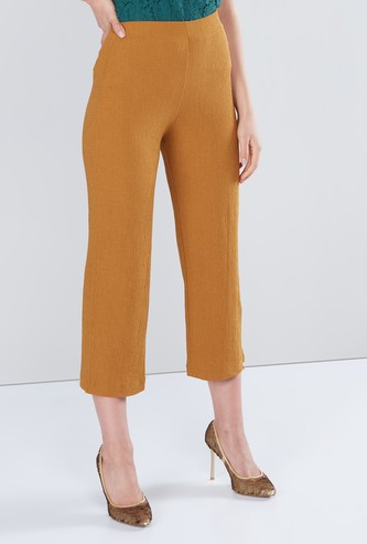 Textured Mid Rise Culottes with Elasticised Waistband
