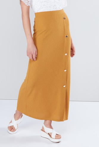 Maxi Skirt with Button Detail and Elasticised Waistband