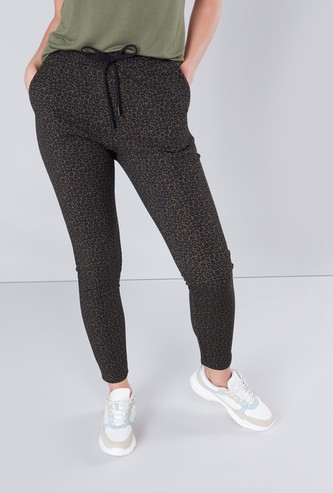 Animal Printed Pants with Drawstring Closure and Pocket Detail