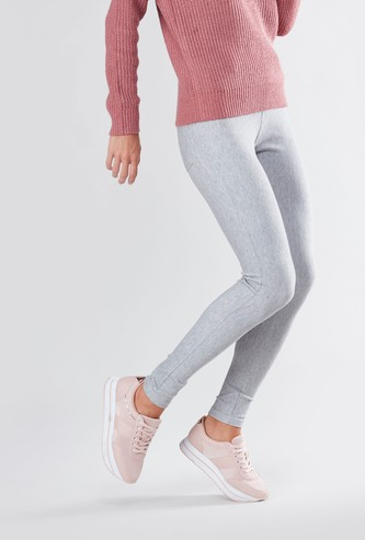 Mid Rise Plain Leggings with Elasticised Waistband