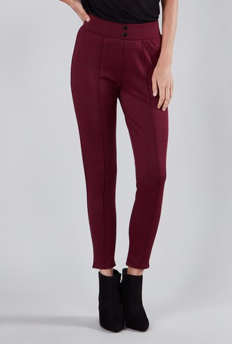 Chequered Mid-Rise Treggings with Button Applique
