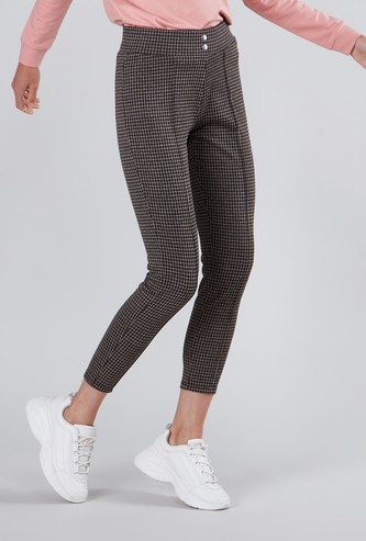 Chequered High Waist Treggings with Button Detail