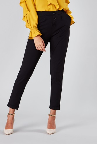 Full Length Pants with Pocket Detail and Button Applique