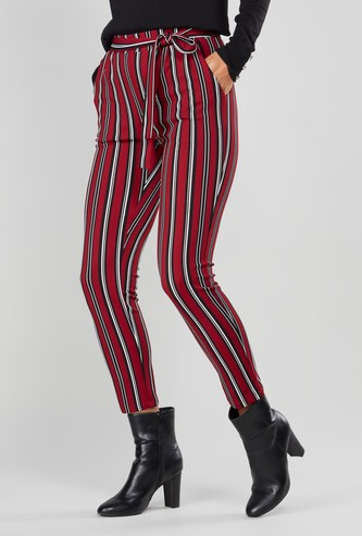Striped Pants with Pocket Detail and Drawstring