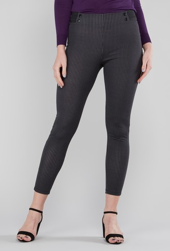 Full Length Chequered Ponte Pants with Button Detail