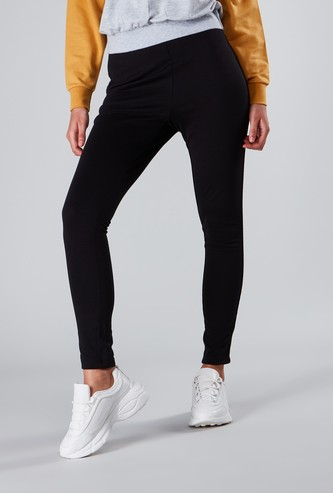 Textured Table Ponte Pants with Side Tape Detail