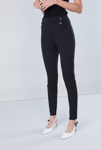 Solid Ponte Pants with Button Detail