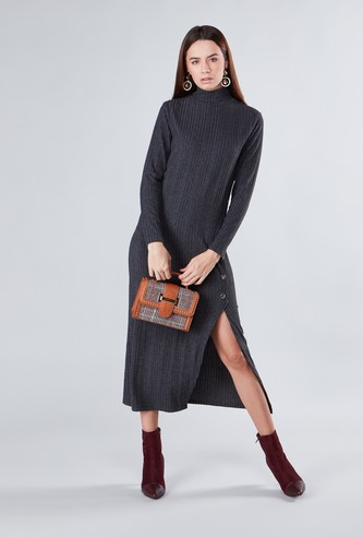 Textured A-line Maxi Dress with Turtleneck and Side Slit