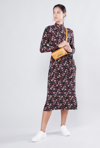 Floral Printed A-line Midi Dress with Side Slit