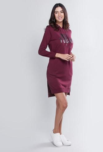 Printed Midi Sweatshirt Dress with Long Sleeves and Hood