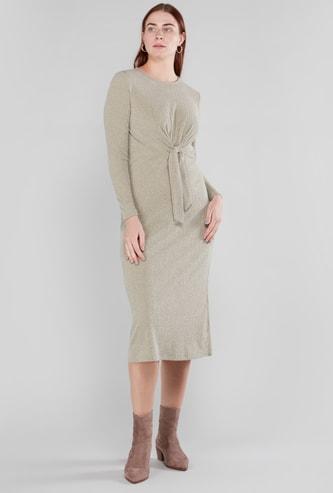 فستان ميدي مضلّع بياقة مستديرة وعقدة أمامية