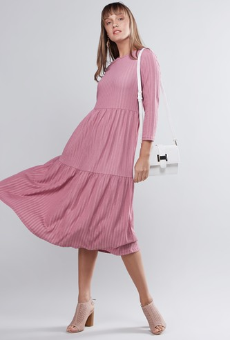 Textured Dress with Round Neck and 3/4 Sleeves