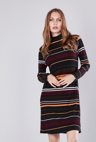 Striped Midi Shift Dress with Turtleneck and Long Sleeves
