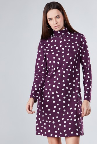 Printed Midi Shift Dress with High Neck and Long Sleeves