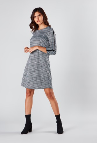 Chequered Midi Shift Dress with Tape Detail and 3/4 Sleeves