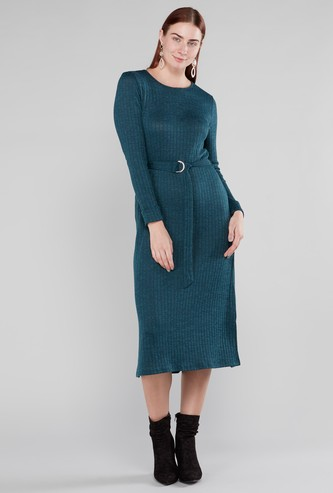 Ribbed Midi Dress with Long Sleeves and Waist Belt