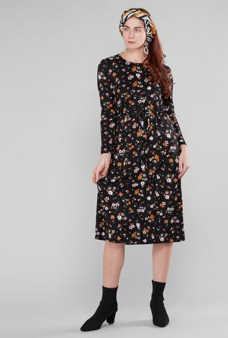 فستان ميدي إيه لاين بأكمام طويلة وأربطة وطبعات