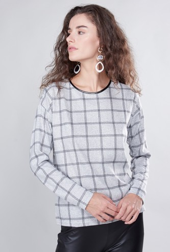 Chequered T-shirt with Round Neck and Long Sleeves