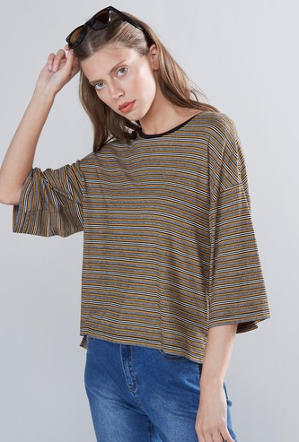 Striped Round Neck Boxy T-shirt with 3/4 Sleeves