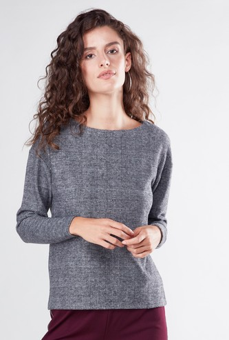 Checked Wide Neck Top with Long Sleeves
