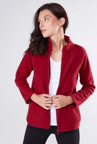 Textured Jacket with Long Sleeves and Slant Pockets
