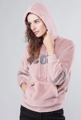 Textured Sweat Top with Hood and Kangaroo Pockets