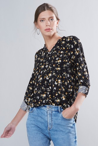 Floral Printed V-neck Button Down Top with Roll-Up Tab Sleeves