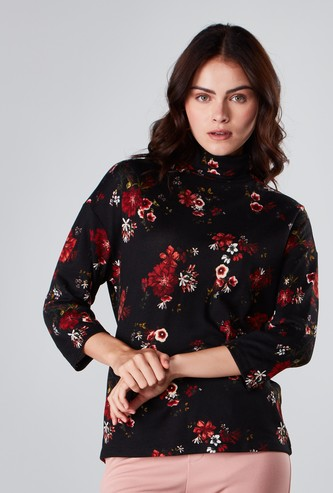 Floral Printed Top with High Neck and 3/4 Sleeves
