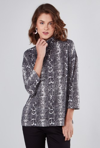 Animal Printed Top with High Neck and 3/4 Sleeves