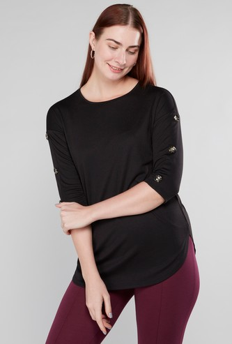 Plain Top with 3/4 Sleeves and Button Detail