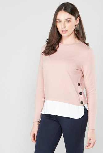 Textured 2-in-1 Top with Round Neck and Long Sleeves