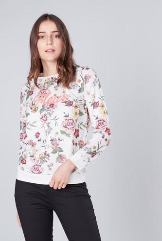Floral Print Round Neck Sweatshirt