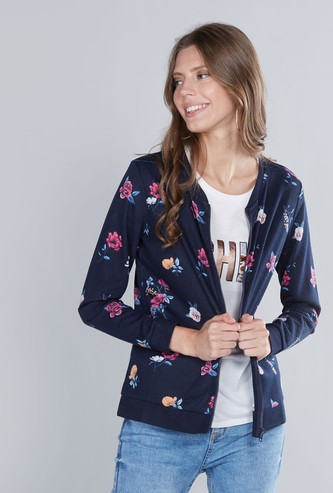 Floral Printed Sweatshirt with Long Sleeves and Zip Closure