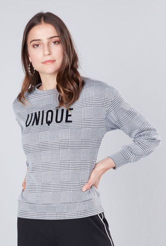 Chequered Sweatshirt with Round Neck and Drop Sleeves