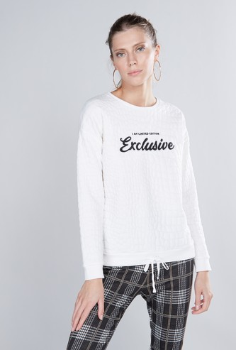 Quilted Sweatshirt with Round Neck and Long Sleeves