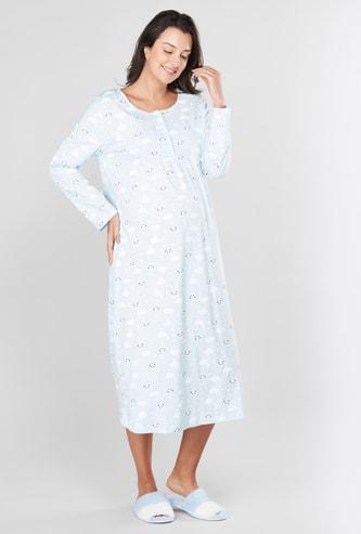 Printed Maternity Sleepshirt with Long Sleeves
