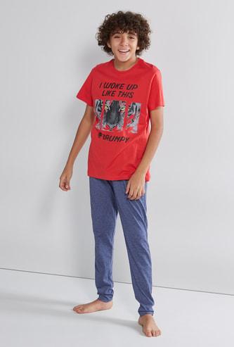 Printed T-shirt with Full Length Pyjama Set