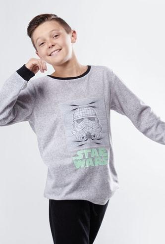 Star Wars Printed Long Sleeves T-shirt with Full Length Jog Pants