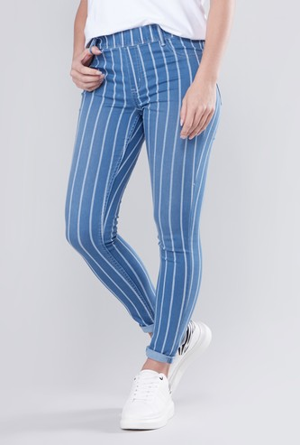 Skinny Fit Striped Jeggings with Elasticated Waistband
