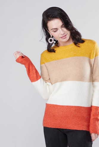 Colour Block Sweater with Round Neck and Long Sleeves