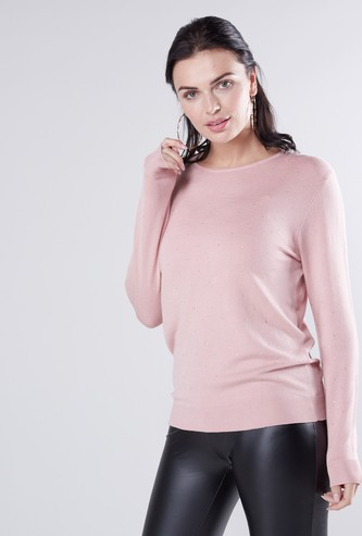 Embellished Round Neck Sweater with Long Sleeves