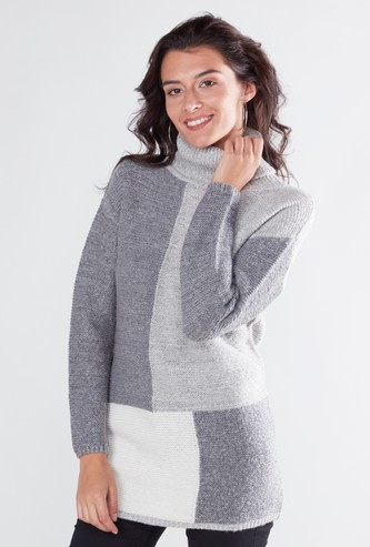 Colourblock Roll Neck Sweater with Long Sleeves