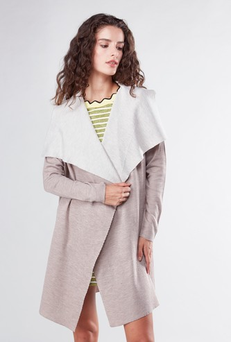 Plain Waterfall Cardigan with V-neck and Long Sleeves