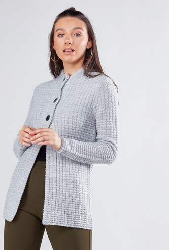 Textured Cardigan with Mandarin Collar and Long Sleeves
