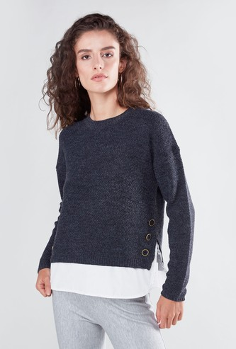 Textured Sweater with Long Sleeves and Mock Hem