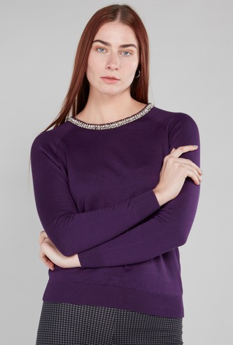 Embellished Boat Neck Sweater with Long Sleeves