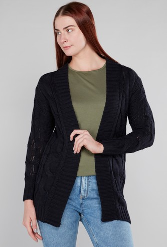 Solid Cardigan with Long Sleeves