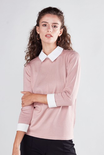 Plain 2-in-1 Sweater with 3/4 Sleeves and Spread Collar