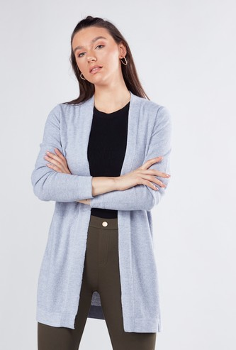 Plain Cardigan with Long Sleeves and Side Slit